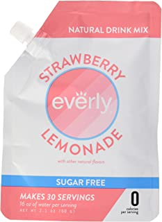 Everly Hydration - Drink Mix Powder, Sugar Free, Natural Sweeteners (Stevia & Organic Erythritol), No Calories, Keto Diet, Water Flavoring and Water Enhancer – Pouch, 30 servings - Strawberry Lemonade
