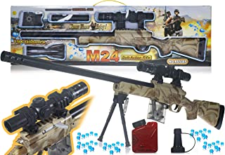 WISHKEY PUBG Theme Gun Toys Set with M24 Model Gun, Scope,1000+ Water Bullets, Tripod, Silencer, Target Shooting Role Play Game for Kids (Brown)