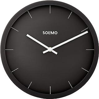 "Amazon Brand - Solimo 12"" Wall Clock - Sheer Black (Silent Movement, Black Frame)"