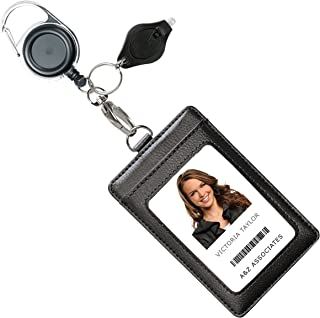 Genuine Leather ID Badge Holder Wallet with Heavy Duty Carabiner Retractable Reel, Key Ring and Metal Clip, 3 Card Pockets. Holds Multiple Cards & Keys. Bonus Key Chain Flashlight. Vertical. Black