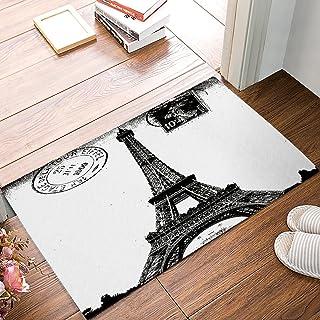 Frech Paris Eiffel Tower City of Love Black White Non-Slip Machine Washable Bathroom Kitchen Decor Rug Mat Welcome Doormat...
