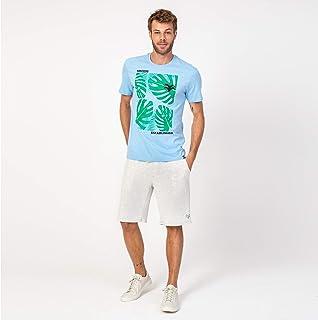Camisa T-shirt Azul e verde folhas