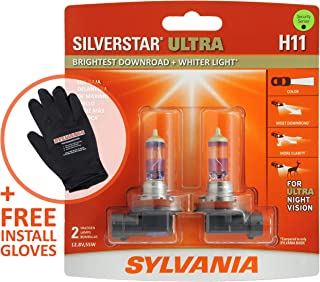 SYLVANIA - H11 SilverStar Ultra + FREE Installation Glove - High Performance Halogen Headlight Bulb, High Beam, Low Beam and Fog Replacement Bulb, Brightest Downroad & Whiter Light (Contains 2 Bulbs)