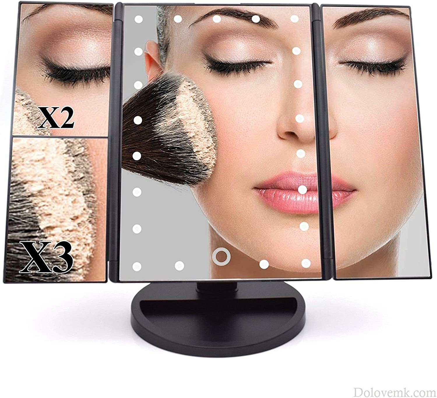 Makeup Mirror, 22 LED Lighted 1X 2X 3X Magnification Illuminated, Touch