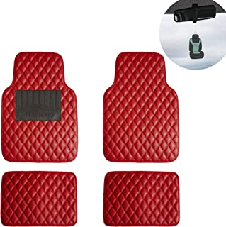 FH Group F12002 Luxury All-Season Heavy Duty Faux Leather Car Floor Mats Stripe Design w. High Tech 3-D Anti-Skid/Slip Backing, Red w Universal fit for Cars, Auto, Trucks, SUV