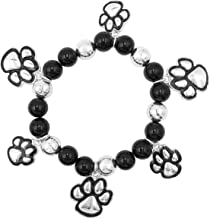 Paw Print Charm School Spirit Mascot Silver Tone Stretch Bracelet
