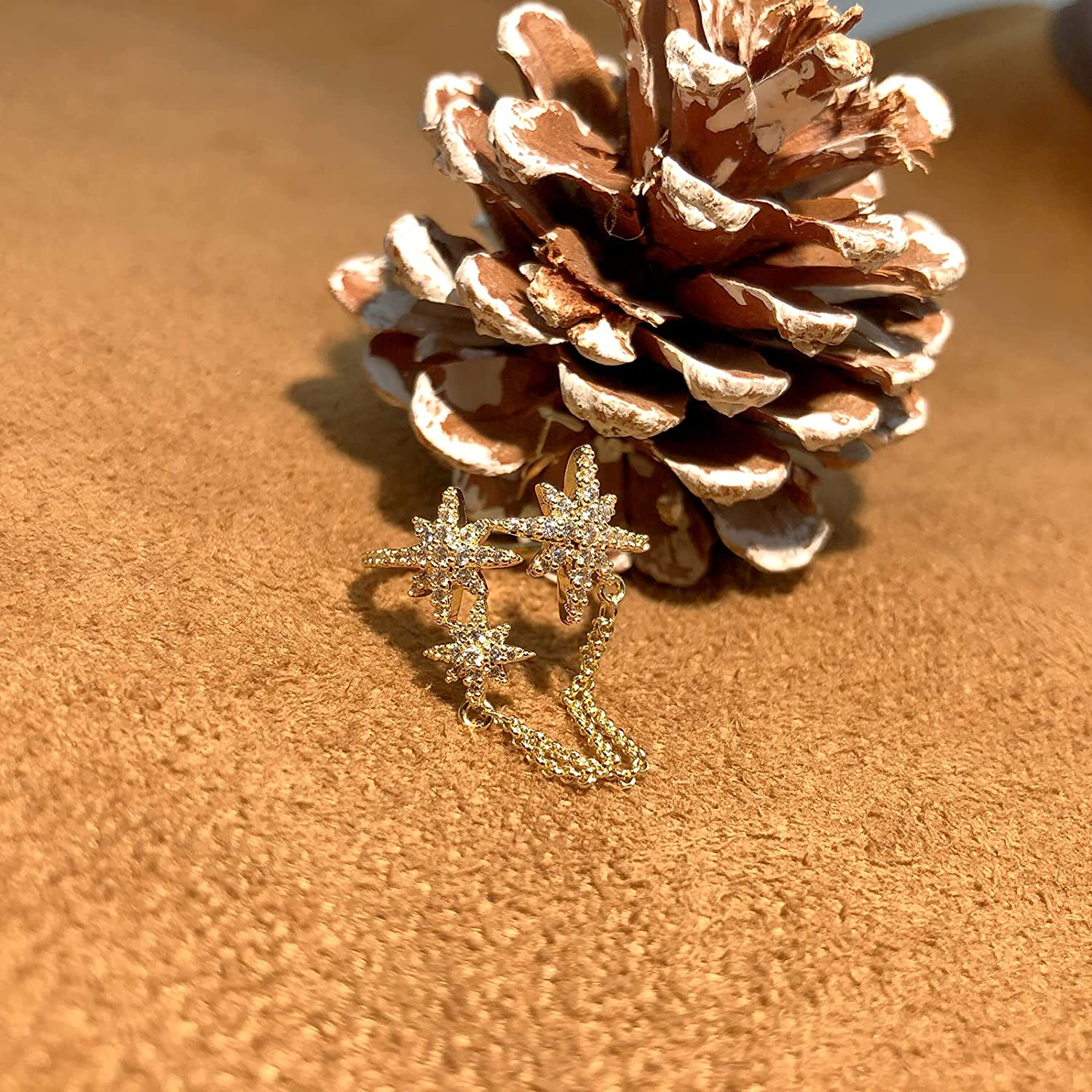 Gold Octagonal Star Chain Rings for Women 5A Cubic Zirconia Star Statement Adjustable Fashion Cute Rings for Women Girl…