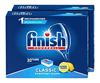 Finish Classic Powerball Dishwasher Tablets with Lemon Scent, Set of 2 - 60 Pieces