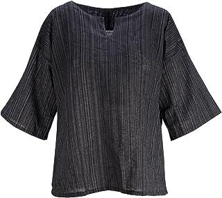 Lofbaz Randig bomull 3/4 ärm toppar skjortor