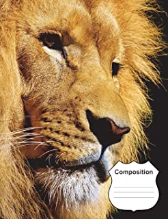 Lion Composition Notebook: Big Cat 7.44 X 9.69 College Ruled 200 Pages (100 Sheets)