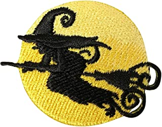 Witch Silhouette - Full Moon - Broom - Halloween - Iron on Applique/Embroidered Patch