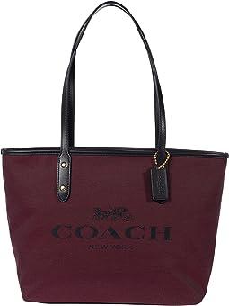 코치 토트백 COACH Jacquard City Zip Tote,Black Cherry