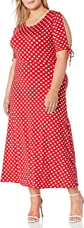 Star Vixen Women's Plus-Size Short/Slit Sleeve Keyhole-Back Skater Seam Maxi Dress