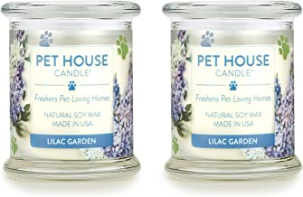 One Fur All 100% Natural Soy Wax Candle, 20 Fragrances - Pet Odor Eliminator, Up to 60 Hours Burn Time, Non-Toxic, Reusable Glass Jar Scented Candles – Pet House Candle, Lilac Garden - Pack of 2