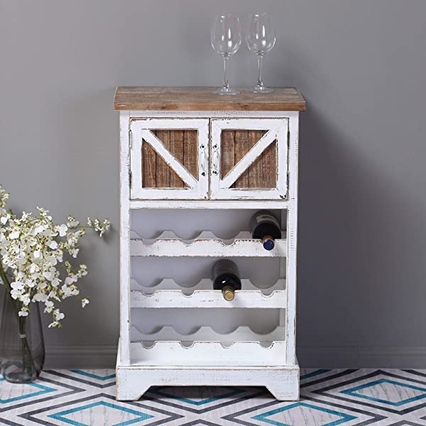 Overstock Distressed White And Natural Wood 12 Bottle Wine Cabinet