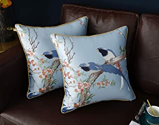 Utmost Real Embroidered Bird Throw Pillow Cover Luxurious Artistic Oriental Handicraft High-end Upmarket Brocade Cushion Case for Couch Sofa Bed 18 x 18 Inch Set of 2,(Light Blue Cuckoo)