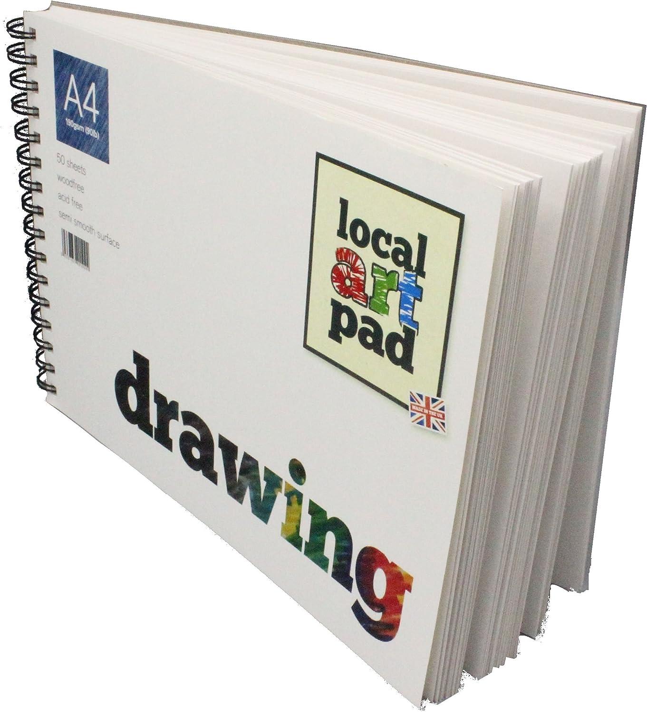 Local Art Pad A4 50 sheet drawing Pad Sketchbook, 190gsm Spiral Bound, Made in UK B01CK7YSHG | Attraktives Aussehen