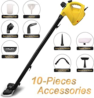 ENSTVER Handheld Pressurized Steam Cleaner,Steam Mop,Floor Cleaner with 10-Piece Accessory Set -Chemical-Free Steam Cleaning for Home, Auto, Patio,Yellow