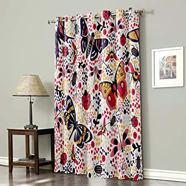 Amaze-Home Decorative Curtains Window Drapes Dragonfly Bee Ladybug Butterflies Printed Printed Door Treatments (One Panel) fo
