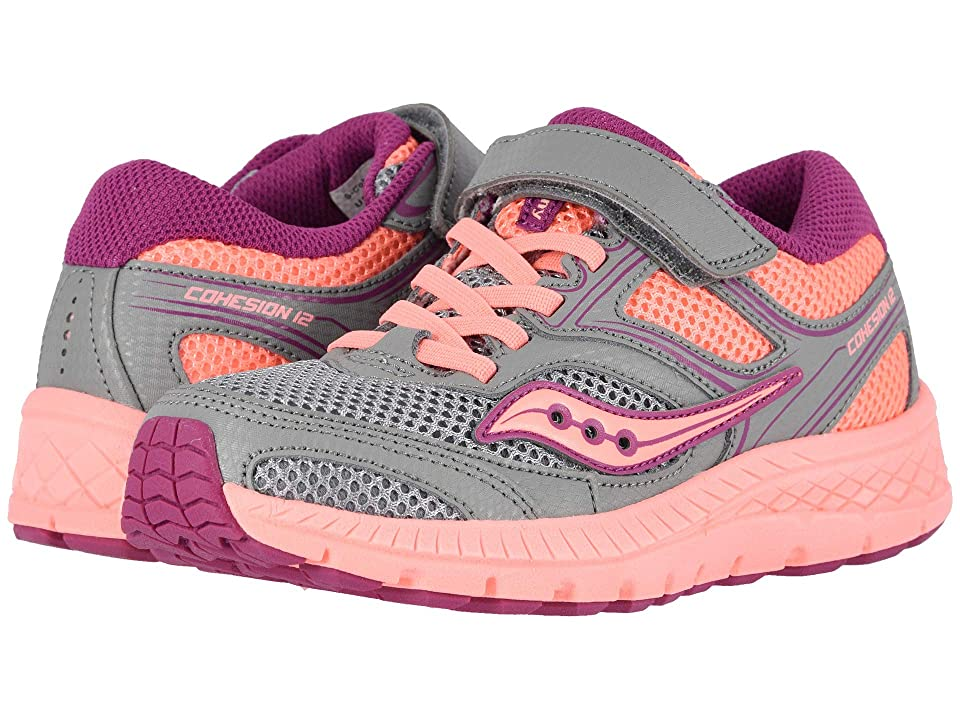 Saucony Kids Cohesion 12 A/C (Little Kid) (Grey/Coral) Girls Shoes
