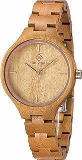 Greentreen Women's Quartz Wooden Watch Lightweight Wooden Grain Wristwatch