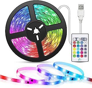 Tiras-LED-USB Música 5M, TASMOR Luces LED RGB 5050 16 Colores, Strip Led 5v con Control Remoto, Iluminación Decorativa Aut...