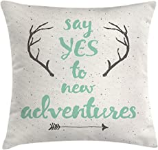 FJPT Throw Pillow Cover Say Yes To New Adventure Calligraphic Quote Antlers And Arrow On Grunge Dotted Backdrop Pillowslip For Sofa Bed Cotton Square Stand Size Pillowcase 16x16 Inch
