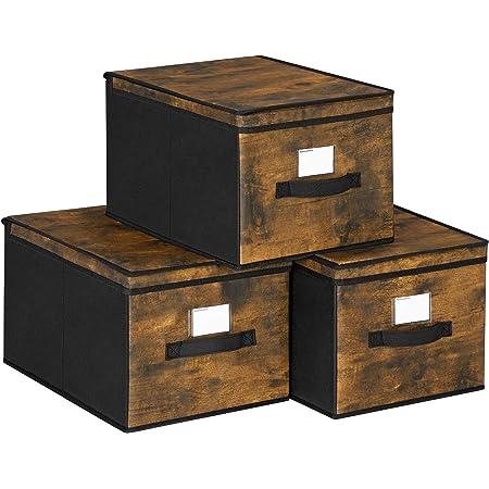 SONGMICS Boîtes de Rangement Pliables, Lot de 3, Coffre, Organisateur de vêtements, Bacs à Jouets, Couvercle, Porte-étiquette, en Tissu Non tissé, 40 x 25 x 30 cm, Marron Rustique et Noir RFB103B01