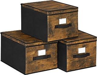 SONGMICS Boîtes de Rangement Pliables, Lot de 3, Coffre, Organisateur de vêtements, Bacs à Jouets, Couvercle, Porte-étique...
