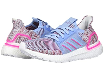 adidas Kids UltraBoost 19 (Big Kid) (Glow Blue/Shock Pink/Maroon) Girls Shoes