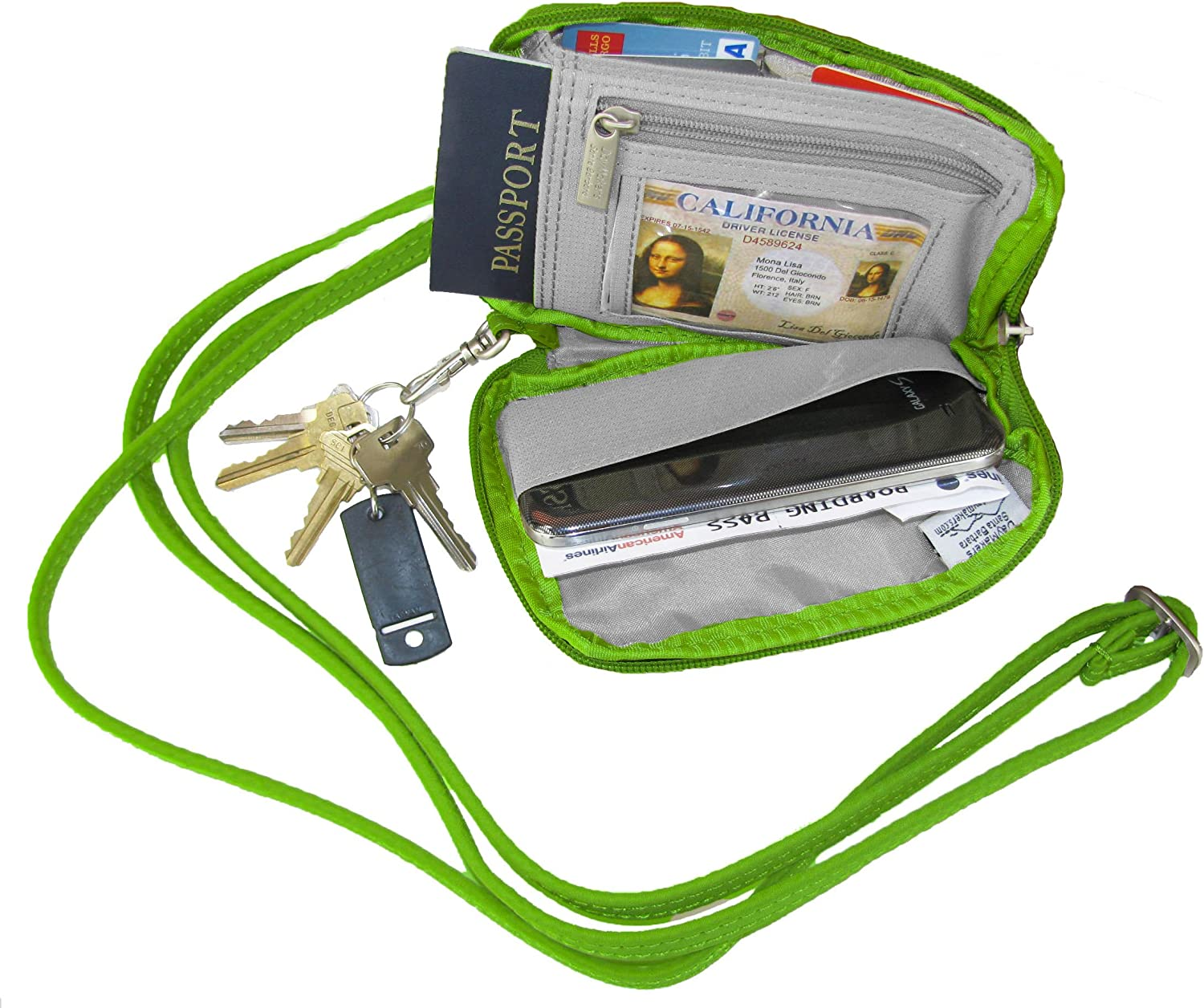 Be Safe Bags Anti-Theft RFID Multi-Compartment Compact Passport Zipper Wallet
