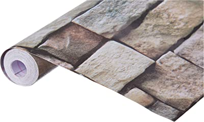 JAAMSO ROYALS Stone Peel and Stick Wallpaper (Peel and Stick, Self Adhesive Wallpaper) SA1007, Multicolor, 500cm x 45 cm