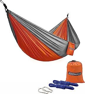 WoneNice Camping Hammock - Portable Lightweight Double Nylon Hammock, Best Parachute Hammock with 2 x Hanging Straps for B...