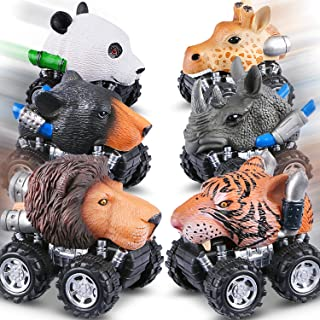 Tencoz Pull Back Cars, 6 Pack Mini Dino Cars with Stickers Animal Car Vehicles Set Toys for Boys Toddlers Girls Kids Easte...