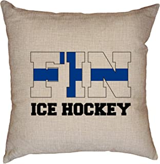 Hollywood Thread Finland Olympic - Ice Hockey - Flag - Silhouette Decorative Linen Throw Cushion Pillow Case with Insert