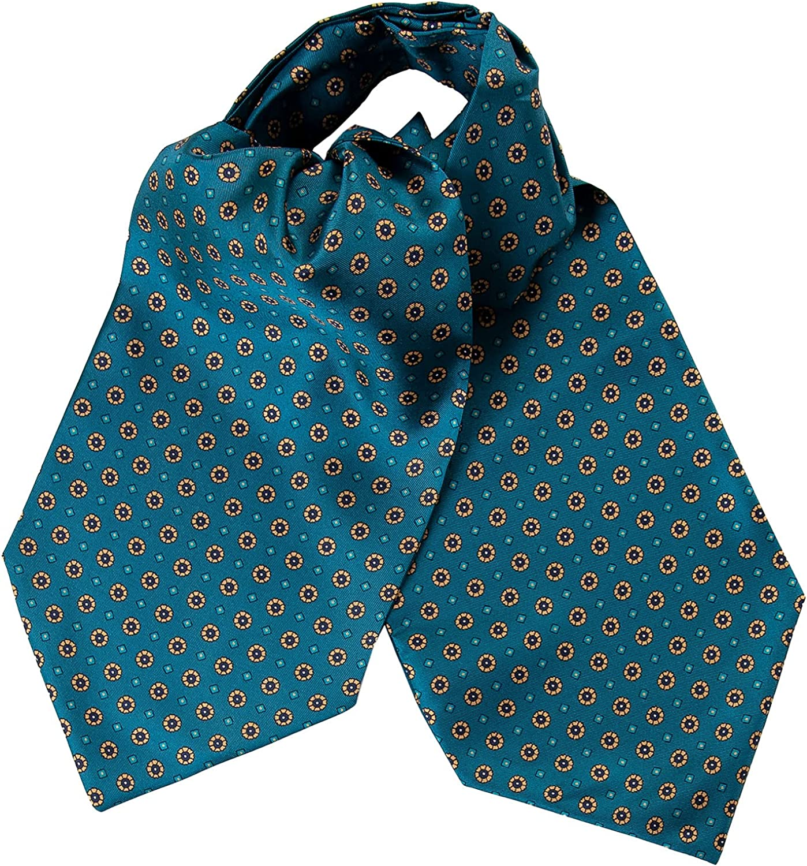 Elizabetta Men's 100% Silk Ascot Tie, Cravat Necktie, Handmade in Italy