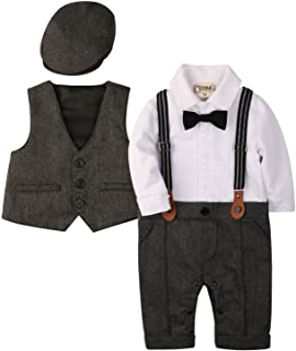 Baby Boy Outfits Set, 3pcs Long Sleeves Gentleman Jumpsuit & Vest Coat & Berets Hat with Bow Tie
