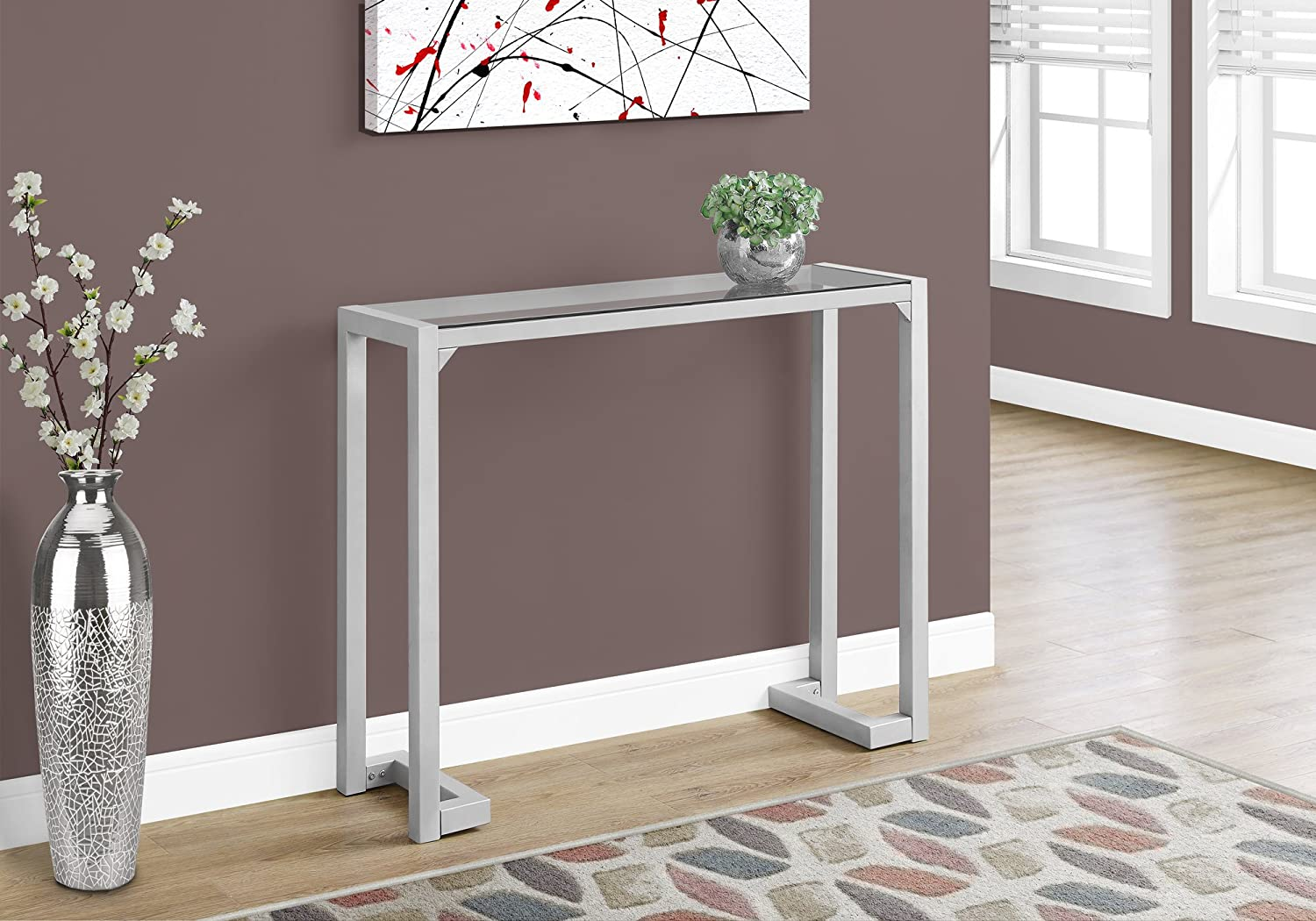 Monarch Specialties Accent Table - 42  L Silver Tempered Glass Hall Console