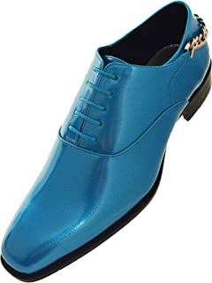 The Original Mens Smooth Shiny Patent Plain Toe Oxford Dress Shoe with Gold Heel Chain