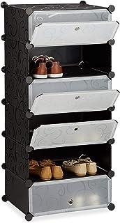 Relaxdays Meuble chaussures fermé rangement 6 casiers plastique chaussures modulable DIY HxlxP: 107x49x37 cm, noir