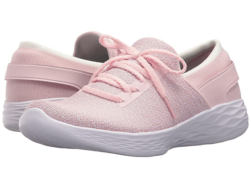 SKECHERS KIDS You Inspire 81159L (Little Kid/Big Kid) (Light Pink Smooth/Multicolored Fabric/Hot Pink Trim) Girl