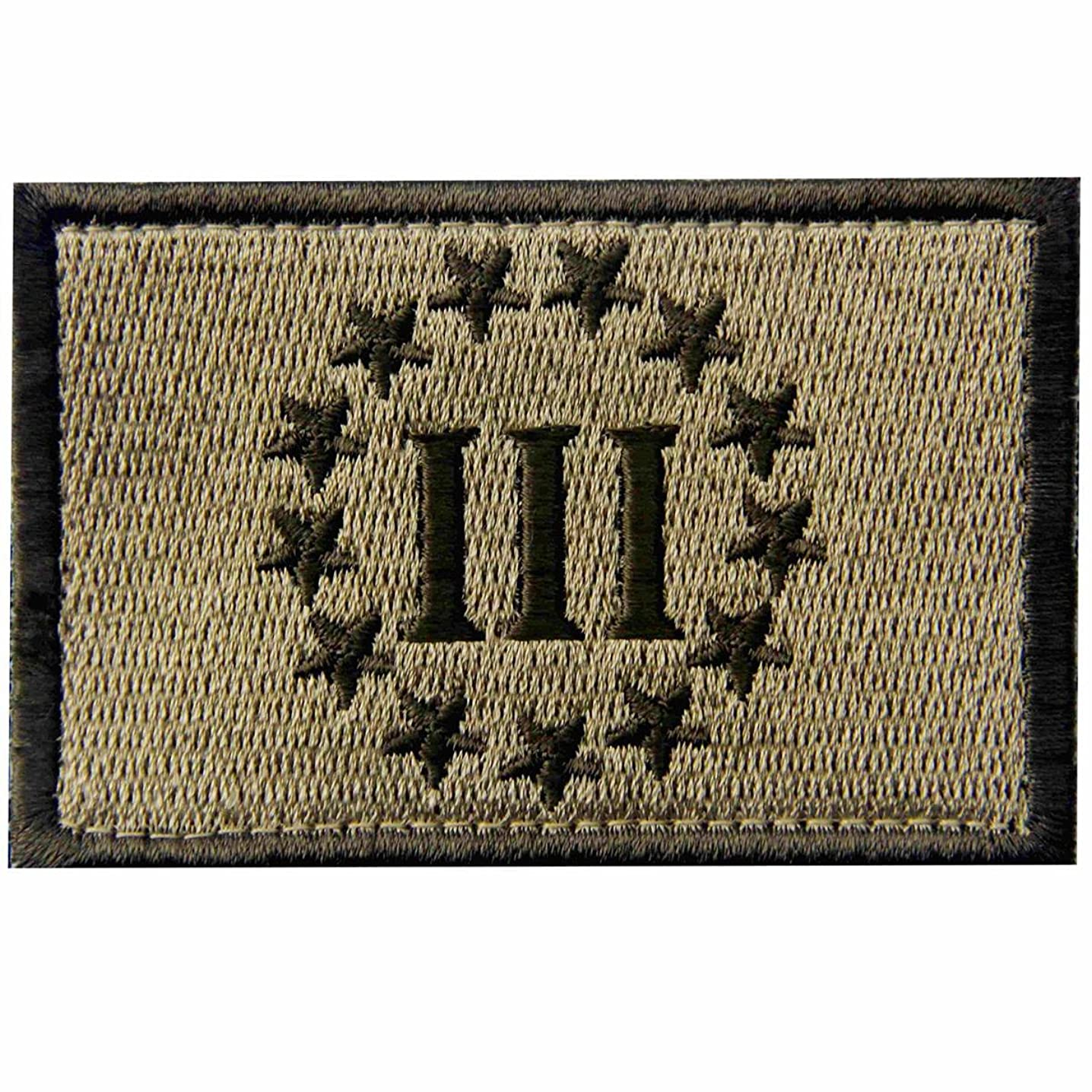 Three Percenter Tactical Embroidered Morale Applique Fastener Hook & Loop Patch - Multitan