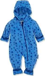 Playshoes Baby Fleece-Overall, atmungsaktiver Unisex-Jumpsuit für Jungen und Mädchen mit langem Reißverschluss und Kapuze, mit Sternen-Muster