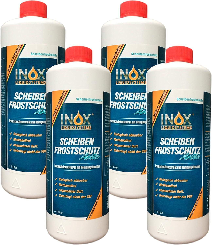 Inox Arctic Scheibenfrostschutz Konzentrat 4 X 1l Auto Frostschutzmittel Scheibenwaschanlage Für Scheibenwischwasser Bis 35 C Auto
