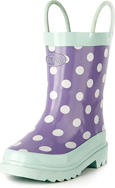 Outee Toddler Kids Girls Rain Boots Rubber Purple Waterproof Shoes Polka Dots Cute Print with Easy-On Handles Classic Comfortable (Size 11,Purple)