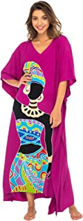 Womens Long African Print Beach Swim Suit Cover Up Caftan Poncho