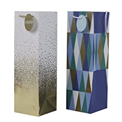 Hallmark Wine Bottle Gift Bags, Cheers and Geometric (Pack of 2)