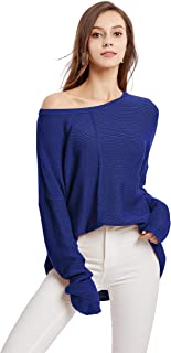 Sellse Women Pullover Sweaters Long Sleeve Loose Casual Solid Knit Sweater