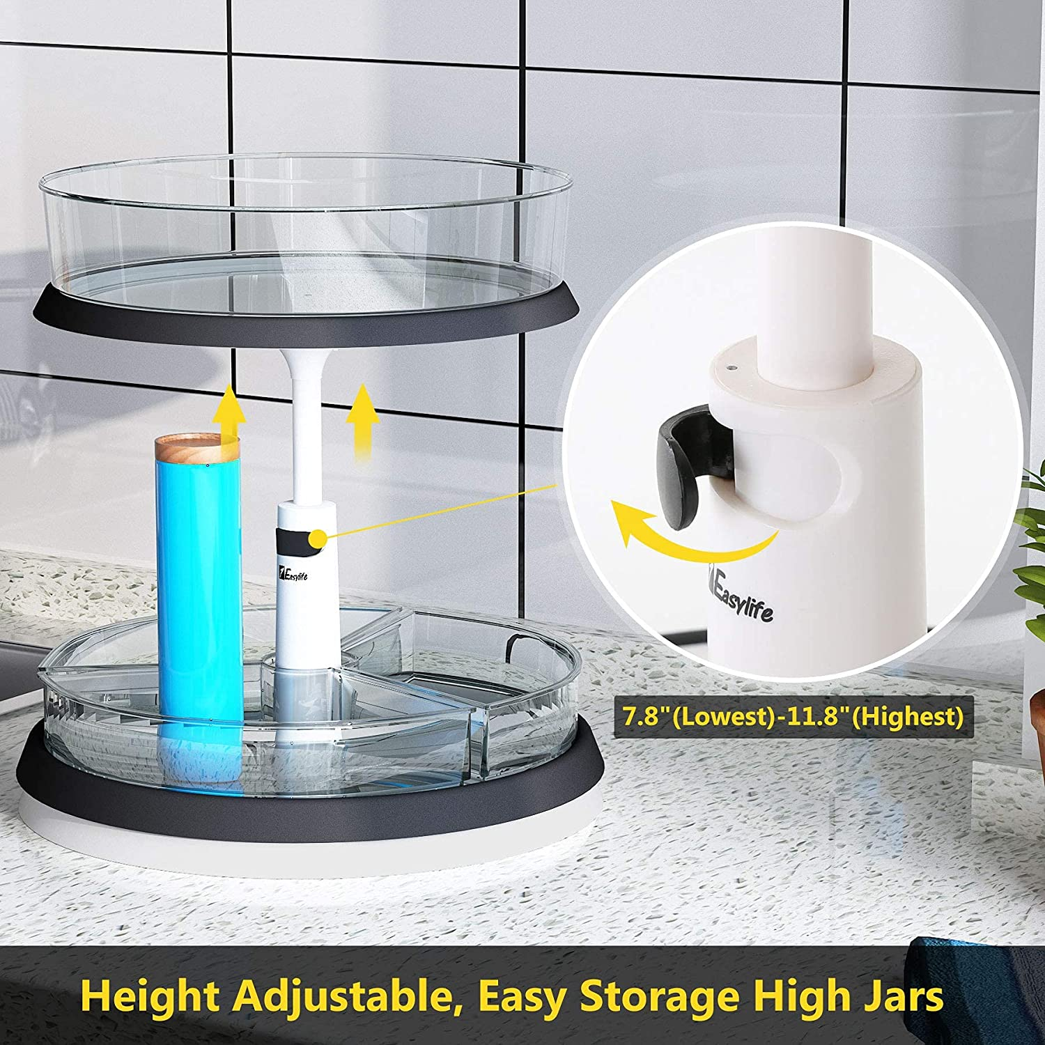 Buy 2 Tier Lazy Susan Turntable And Height Adjustable Cabinet Organizer With 1x Large Bin And 3 X Divided Bins Removable Clear Spice Rack Organizer For Cabinet Pantry Kitchen 2 Tier W Bins Online