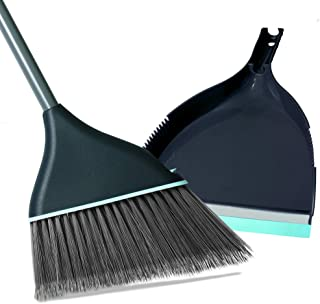 Guay Clean Angled Broom and Dustpan Set with Adjustable Handle - Easy Sweeping for Home Kitchen Office Floor - Collects Dust Dirt Debris - Built-in Broom Comb - Blue